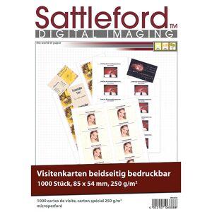 Sattleford 1.000 Visitenkarten, microperforiert, Inkjet & Laser, 250g/m², 85 x 54