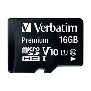 Verbatim Premium microSDHC-Speicherkarte 16 GB, 80 MB/s, Class 10, U1