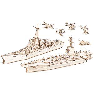 Playtastic 3er-Set 3D-Bausätze Marine-Schiffe & Luftflotte aus Holz, 233-teilig