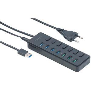 Xystec Aktiver 7-Port-Hub mit 4x USB 3.0 & 3x BC-1.2-Ladeport (7,2 A / 36 W)