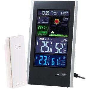infactory Funk-Wetterstation mit Aussensensor, Wecker & USB-Ladeport (2 Ampere)