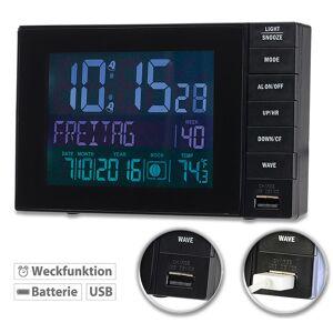 infactory Funkwecker mit Temperatur-Anzeige, USB-Ladestation (2 A), 2 Weckzeiten