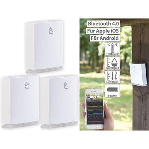 infactory 3er-Set Wetterstation-Datenlogger für iOS & Android mit Bluetooth