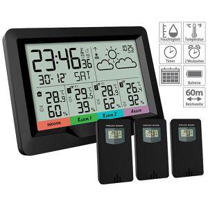 infactory Funk-Wetterstation mit 3 Funksensoren für innen/außen, LCD-Display