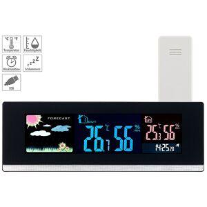 infactory Tisch-Wetterstation, Funk-Außensensor, Farb-LCD-Display, USB-Ladeport