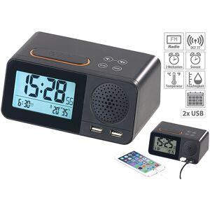 auvisio Funk-Radiowecker mit 2 Weckzeiten, Hygro- & Thermometer, 2x USB, 2 A