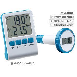 infactory Digitales Teich- und Poolthermometer mit LCD-Funk-Empfänger, IPX8