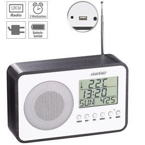 auvisio Design-UKW-Radiowecker, digitale Frequenzwahl, Netzteil, USB-Ladeport