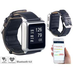 newgen medicals Blutdruck-Armbanduhr mit Pumpe, E-Ink-Display, Bluetooth & App