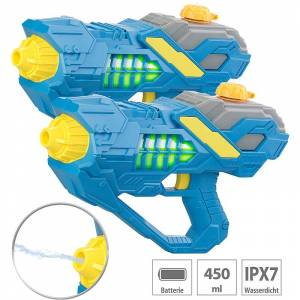 Speeron 2er-Set Batteriebetriebene Wasser-Spritzpistolen, LED-Licht, 450 ml