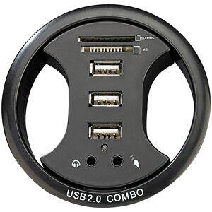 Xystec Tisch-Kabeldose 80 mm, mit USB-Hub, Card-Reader&Audioanschluss