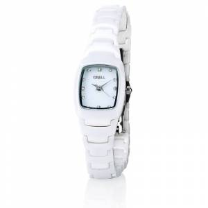 Crell Damenuhr mit hochwertigem Keramik-Armband, weiss