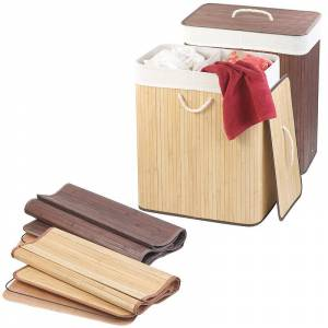 infactory 2er-Set faltbarer Bambus-Wäschekörbe mit Deckel & Wäschesack, je 100 l