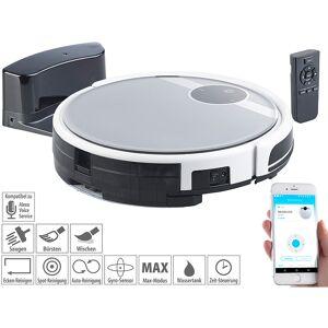 Sichler Haushaltsgeräte WLAN-Staubsauger-Roboter mit Bürst- & Wischfunktion, für Amazon Alexa