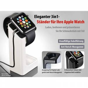 Callstel Eleganter 3in1-Ständer für Apple Watch, weiss