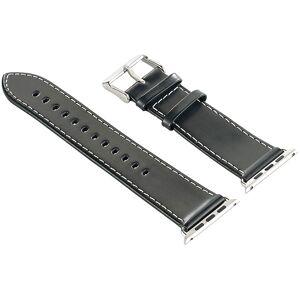 Callstel Glattleder-Armband für Apple Watch 42 mm, schwarz