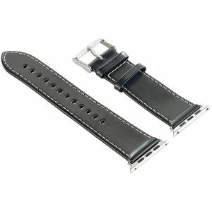 Callstel Glattleder-Armband für Apple Watch 38 mm, schwarz