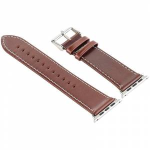 Callstel Glattleder-Armband für Apple Watch 38 mm, braun