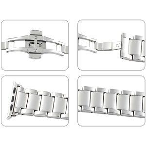 Callstel Glieder-Armband für Apple Watch 38 mm, Edelstahl, silbern