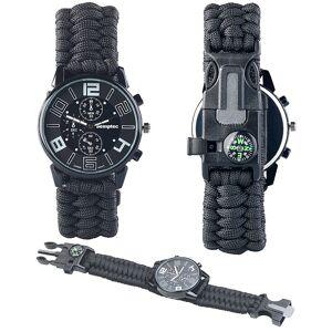 Semptec Urban Survival Technology 5in1-Armbanduhr mit Paracordband, Feuerstahl, Kompass, Notfallpfeife