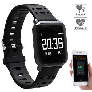 newgen medicals Fitness-Uhr mit Blutdruck- & Herzfrequenz-Anzeige, Bluetooth 4.0, IP68