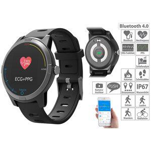 newgen medicals Fitness-Uhr mit Bluetooth, Herzfrequenz- und EKG-Anzeige, App, IP67