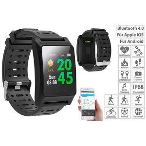 newgen medicals Fitness-GPS-Smartwatch, Herzfrequenz-Anzeige, Farb-Display, App, IP68