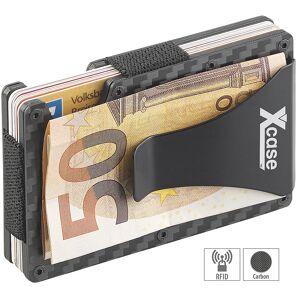 Xcase RFID-Kartenetui aus Carbon, Schutz für 15 Chip-Karten, mit Geldklammer