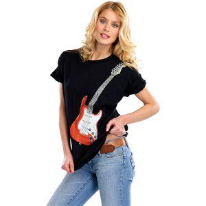 infactory Hightech-Musik-LED-T-Shirt mit 6-saitiger E-Gitarre, Gr. S