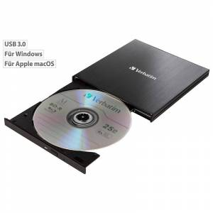 Verbatim Externer Slim-Blu-ray-Brenner, USB 3.0, Nero Burn & Archive, schwarz
