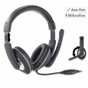 auvisio Gaming-Headset GHS-100 für PC, mit Klapp-Mikrofon, 2x 3,5-mm-Klinke