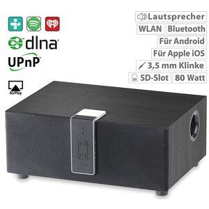auvisio WLAN-Multiroom-Lautsprecher mit Subwoofer, BT, Airplay, 80 W, schwarz