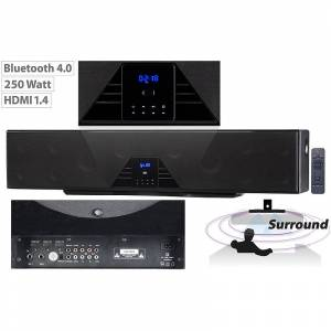 auvisio 6-Kanal-3D-Soundbar, 5.1-Surround-Sound, Bluetooth 4.0, HDMI, 250 Watt