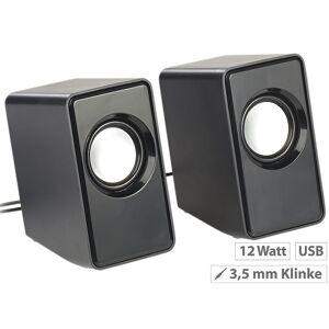 auvisio Aktiv-Stereo-Lautsprecher, USB-Stromversorgung, 12 Watt, 3,5-mm-Klinke
