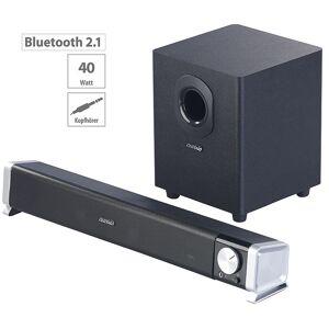 auvisio 2.1-Soundbar mit externem Subwoofer für PC und TV, Bluetooth, 40 Watt