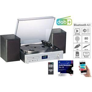 auvisio Plattenspieler/Digitalisierer, DAB+, CD, Bluetooth, MC, USB, MP3, 80 W
