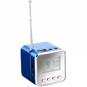 "auvisio Mini-MP3-Station ""MPS-550.cube"" mit integriertem Radio, blau, 8 Watt"