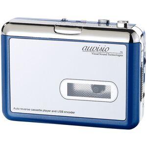 """auvisio Tragbarer USB-Kassettenspieler """"Blue Edition"""" für MP3-Aufnahme"""