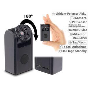 Somikon Mini-HD-Überwachungskamera, IR-Nachtsicht, PIR-Sensor, 1 Jahr Stand-by
