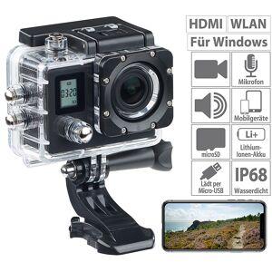 Somikon Einsteiger-4K-Action-Cam, WLAN, 2 Displays, Full HD 60 B./Sek., IP68
