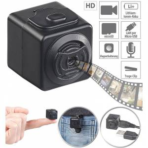Somikon Ultrakompakte HD-Videokamera mit Bewegungs-Erkennung, Magnet-Halterung