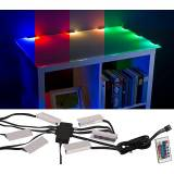 Lunartec LED-Glasbodenbeleuchtung mit Fernbedienung: 6 Klammern mit 18 RGB-LEDs