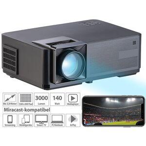 SceneLights LED-LCD-Beamer mit WLAN, Media-Player, 1280x800 Pixel (WXGA), 3.000 lm