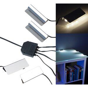 Lunartec LED-Glasbodenbeleuchtung, 4 Klammern mit 12 tageslichtweissen LEDs