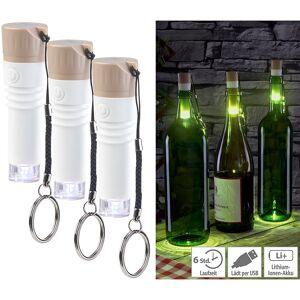 Lunartec 3er-Set LED-Weinflaschen-Lichter mit weissem Licht, per USB ladbar