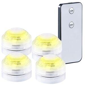 Lunartec 4er-Set Mini-LED-Dekolichter, warmweiss, mit Fernbedienung