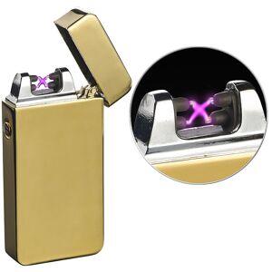 Pearl Elektronisches USB-Feuerzeug mit doppeltem Lichtbogen und Akku, golden