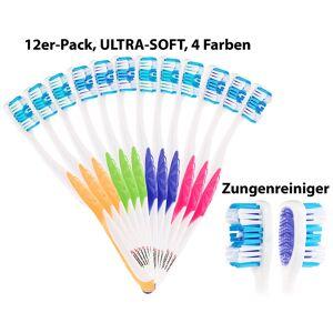 newgen medicals 12er-Pack Marken-Zahnbürsten mit Zungenreiniger, ULTRA-SOFT, 4 Farben