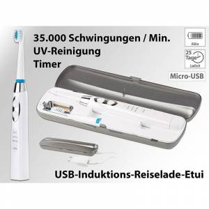 newgen medicals Elektrische Schallzahnbürste mit UV-Sterilisator & USB-Reiselade-Etui