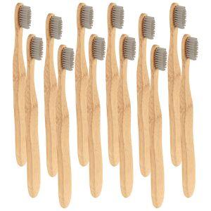 newgen medicals Antibakterielle Bambus-Handzahnbürste, medium, 12-er Set